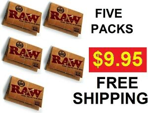 LOT-OF-FIVE-PACKS-of-1-1-2-SIZE-RAW-CLASSIC-ALL-NATURAL-UNREFINED-ROLLING-PAPERS