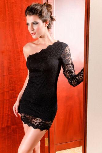 Catch Fashion One Sleeve Mini dress with Lace Black