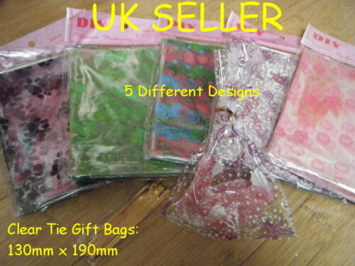50x CLEAR PLASTIC CELLO TWIST TIE TOP GIFT PARTY CARRIER BAGS SHOP 190mmx 130mm
