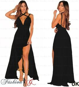 a060d65c65 Womens Evening Dress Black Maxi Gown Prom Party Formal Long Halter ...
