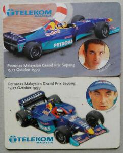 Malaysia-Used-Telekom-Phone-Card-2-pcs-Petronas-M-039-sian-Grand-Prix-Sepang-1999