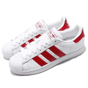 detailed look 8bf0d 35014 Image is loading adidas-Originals-Superstar-White-Scarlet-Red-Men-Casual-