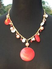 Cache $58 Necklace OPALESSENCE DISC STONES BEADS NWT GOLD CHAIN ADJUSTABLE