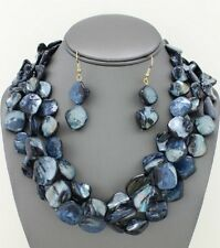 Three Strand Navy Blue Black Mother Of Pearl Shell Necklace Earring Set