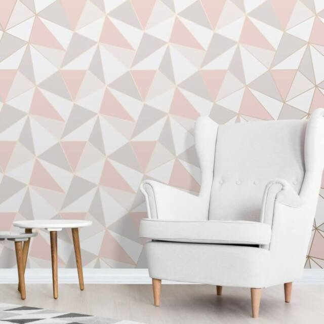 Fine Decor Fd41993 Modern Geometric Wallpaper Rose Gold For Sale Online Ebay