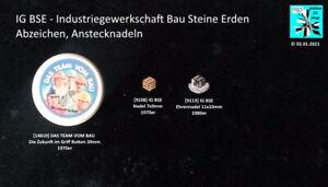 IG BSE Industriegewerkschaft Bau Steine Erden Abzeichen Anstecknadeln AUSSUCHEN