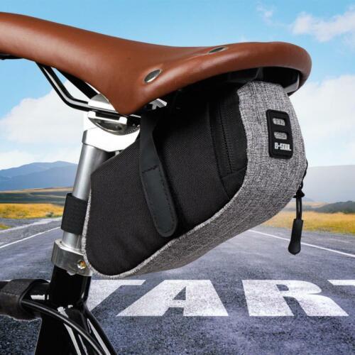 Reflective Bike Saddle Bag MTB Bicycle Tail Rear Seat Cycling Pouch Pannier Grey