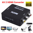 Input RCA AV to HDMI Output Converter Adapter Composite AV2HDMI 720p/1080p Black
