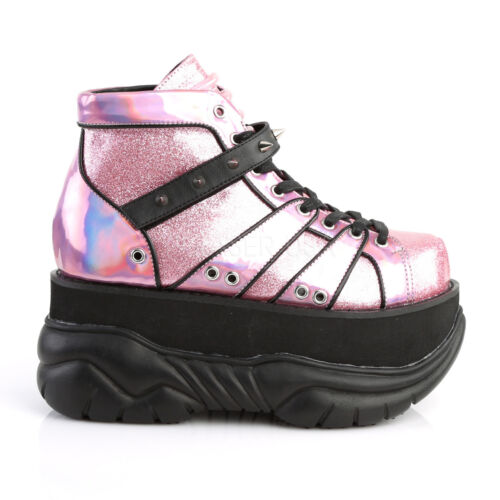 """Demonia 3/"""" Platform Pink Glitter Hologram Spiked Boots Shoes Club Cyber 4-12"""