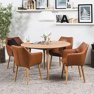 armlehnstuhl kunstleder st hle braun cognac vintage esszimmer neu ebay. Black Bedroom Furniture Sets. Home Design Ideas