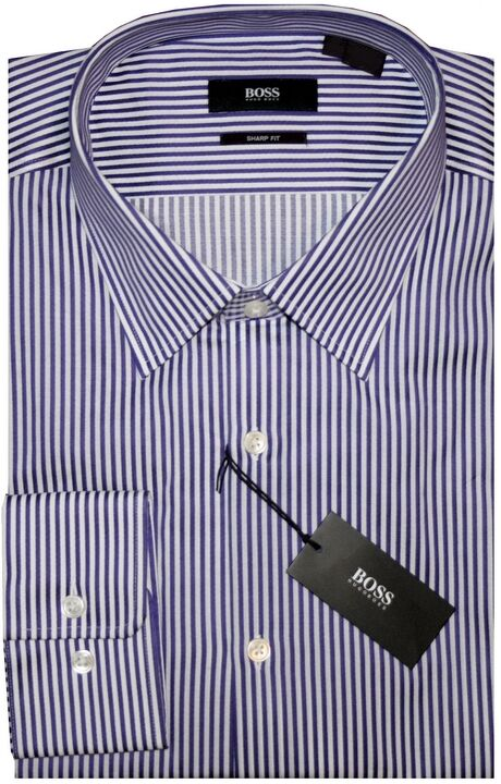 NEW HUGO BOSS BOLD DARK lila & Weiß STRIPE SHARP FIT DRESS SHIRT 17 32/33
