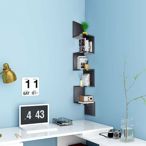 5 Tier Corner Art Shelf Wall Mount Floating Walnut Zig Zag Storage Rack Shelves