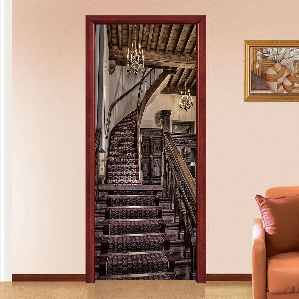 3D ornent escalier autocollants muraux vinyle murales mur imprimé déco ajstore UK Kyra