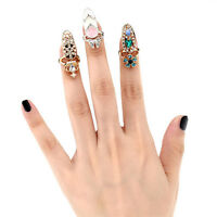 Dazzling Lady Bowknot Nail Ring Charm Crown Flower Crystal Finger Nail Ring Love