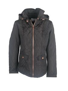 Ex-Marks-and-Spencer-Per-Una-Stormwear-Quilted-Jacket-Coat-in-Brown-Size-S-L