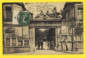 cpa-de-1909-FRANCE-Postcard-COGNAC-Charente-JARDIN-de-l-039-HOTEL-de-VILLE-Animes