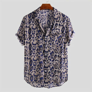 T-shirts-Men-Cotton-Leopard-Print-Button-Down-Short-Sleeve-M-3XL-Summer-Blouse