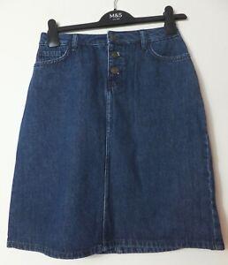 New Women's FatFace Indigo Blue High Waist Maisie Skirt UK 10 RRP £45