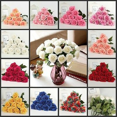 Wedding 20pcs Latex Real Touch Flower Rose Flowers Bouquet Home Design Decors