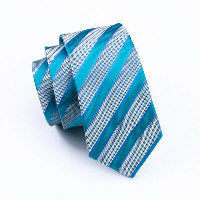 IVAN TROY Blue Paisley Italian Silk Jacquard Woven Mens Tie With Cufflinks