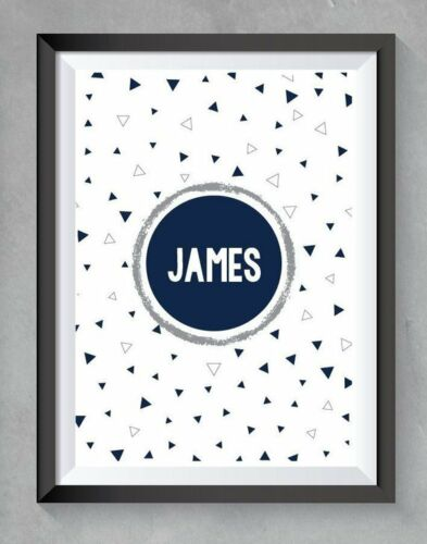 Boys bedroom Prints Navy and grey Home Decor personalised FREE P/&P