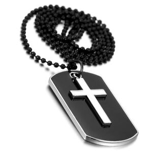 Men-039-s-Military-Army-Style-Dog-Tag-Cross-Pendant-Necklace-With-27-inch-Bead-Chain