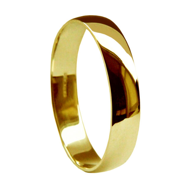 New 18ct Yellow Gold Solid Medium D Shaped UK Hallmarked Wedding Rings Band