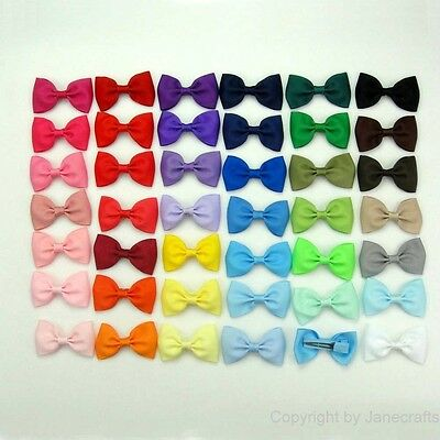 "Assorted 41pcs Small 2.5"" Bowtie Hair Bow Clips Matching Color Clips Baby Girl"