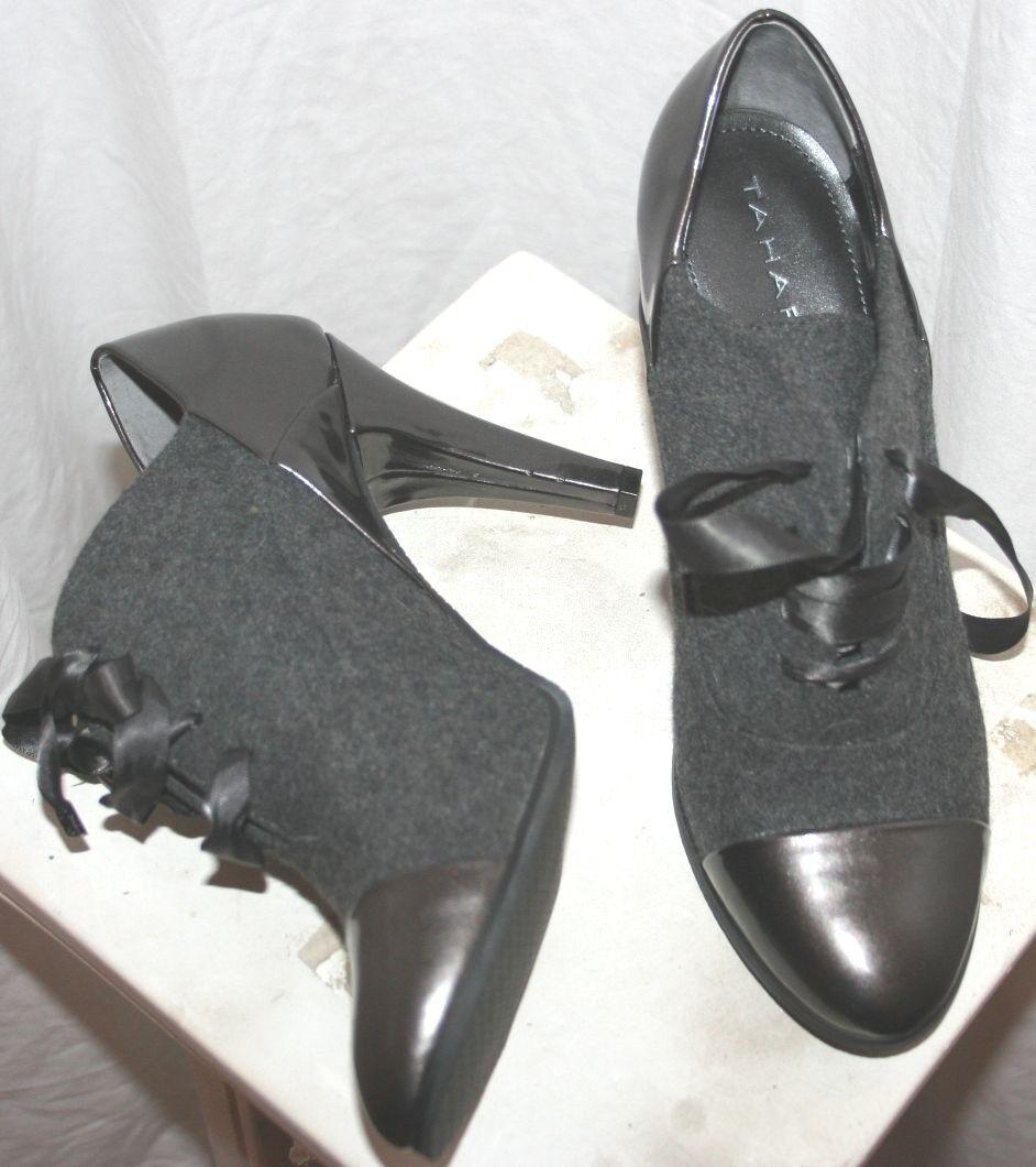 Tahari Sexy Cap Toe Bottines Courtes Mode Cheville Bottes en cuir grise laine 7