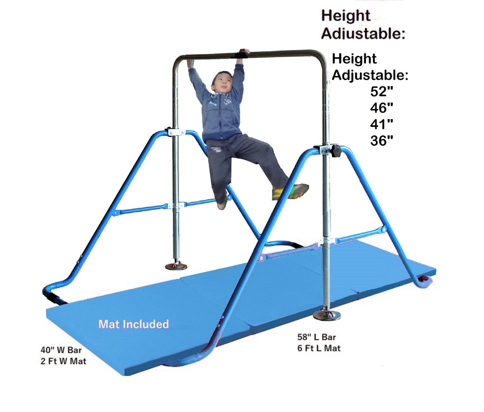 Kids Jungle gym Horizontal  Monkey bar Balance Bars blueeE + 2' x 6' Gymnastic Mat