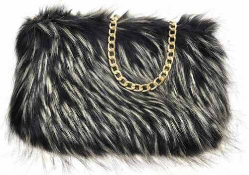 Ladies New Designer Fluffy Feather Clutch Faux Fur Bag Purse With Chain Runway