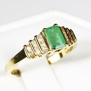 10K WG 14ct Genuine Natural Emerald Ring Solitiaire Oval Cut Size 6.5 Vintage Ring Vintage Jewelry Gift for Her Gift for Daughter