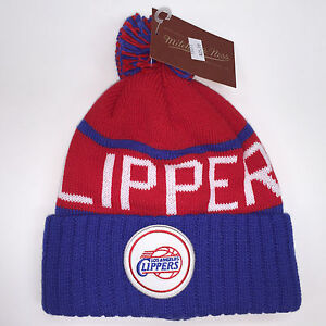 b2bbb281c Details about Mitchell & Ness NBA Los Angeles Clippers High 5 Cuffed Knit  Beanie 10097