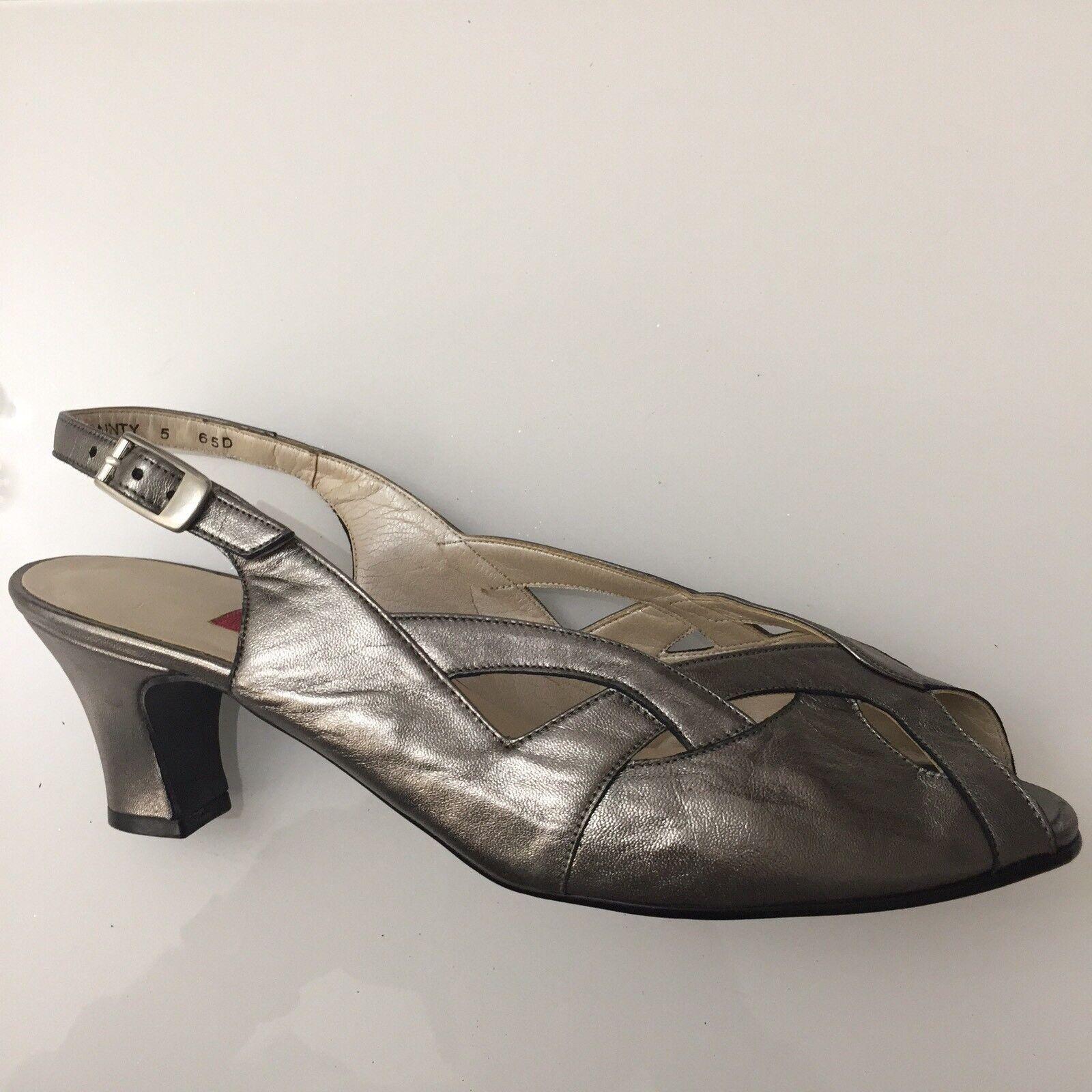 "Ladies shoes Size 5 Bronze VAN DAL Leather 2.5"" Heel Feature Front Peep Toe"