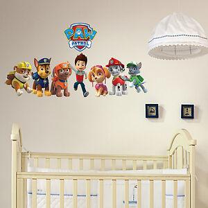 paw patrol gang m dchen jungen kinder schlafzimmer vinyl aufkleber wandkunst ebay. Black Bedroom Furniture Sets. Home Design Ideas