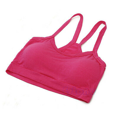 Women Seamless Cotton Tight Strap Tank Vest Sport Bra Wrap Chest Solid Crop Top