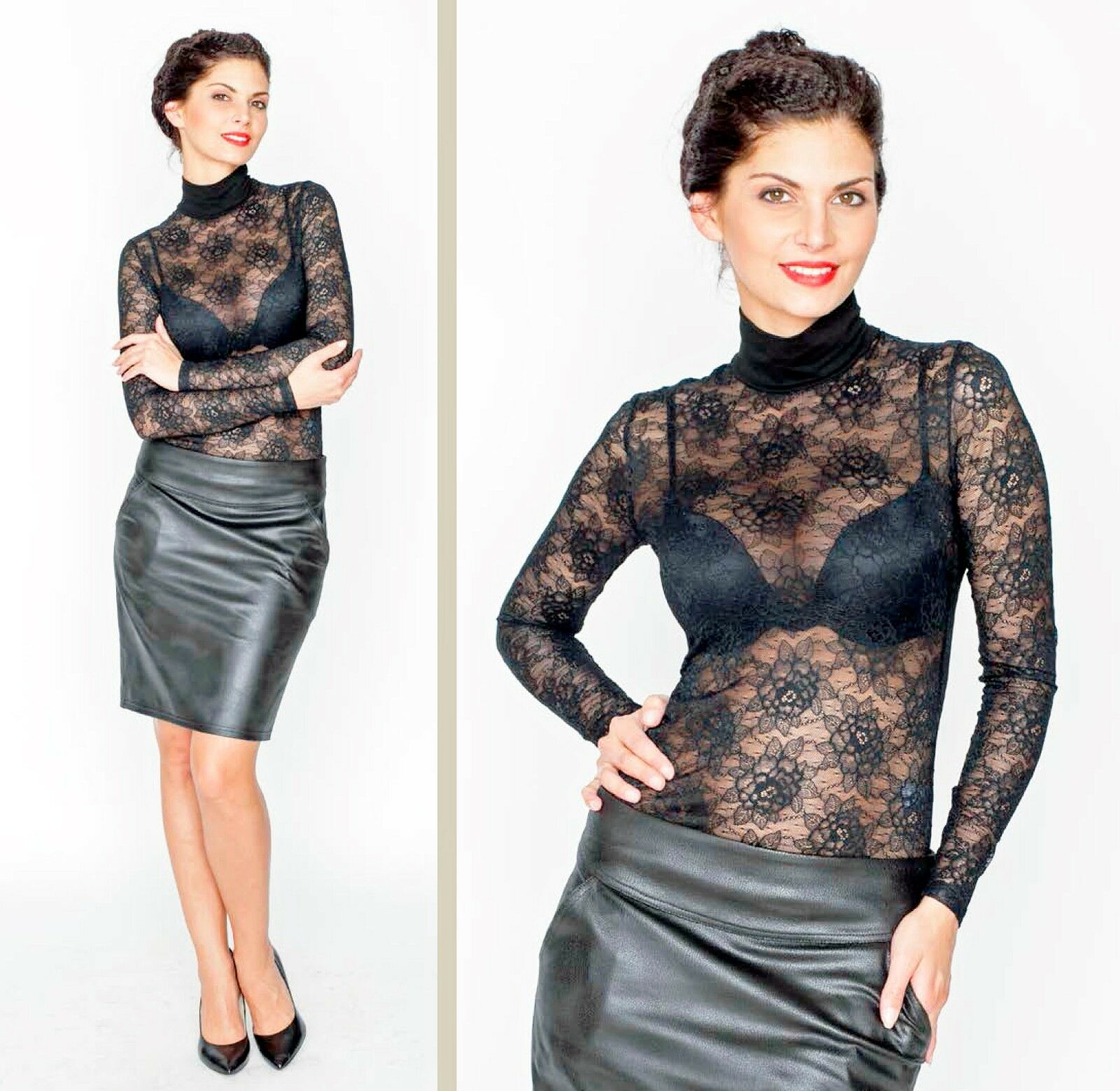 Lace Party Blouse Career Mock Neck Sheer Long Sleeves European Jumper S M L XL