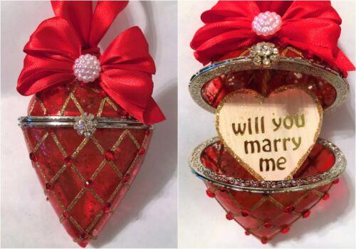 Voulez-vous m/'épouser en verre rouge cœur arbre de Noel babioles engagement proposition Keepsake