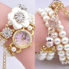 Women Pearl Flower Bracelet Wrist Analog Quartz Crystal Rhinestone Dial Watch
