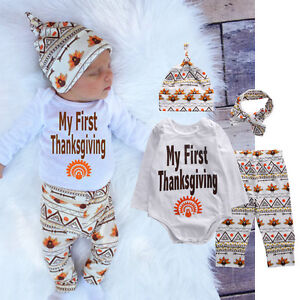 f0450040 Newborn Infant Baby Boy Girl T-shirt Tops+Pants+Hat Outfit Clothes ...
