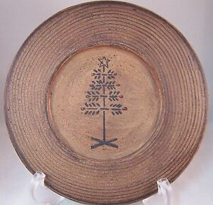 "Swedish Xmas Tree Plate 7 3/4"" Wood Like Primitive Rustic Country Decor"