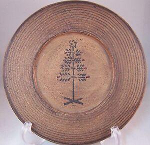 "Swedish Xmas Tree Plate 7 3/4"" Wood Like Primitive Rustic Country Decor"