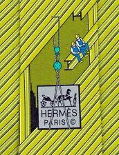 """Super Cool Brand New Tag Hermes Tie Heavy Silk Twill Green """"Profilé H"""" Mint!"""