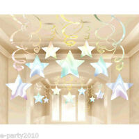 Iridescent Shooting Stars Foil Swirl Decorations (30) Birthday Party Supplies