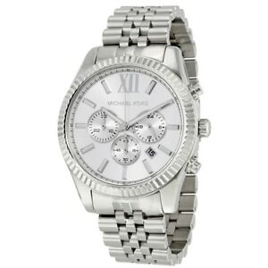 7bf08569beb1 Image is loading NEW-MICHAEL-KORS-MK8405-LEXINGTON-STAINLESS-STEEL-SILVER-