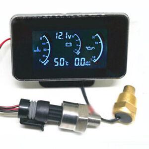 Wasser-Temperaturanzeige-Oldruckanzeige-Spannung-Voltmeter-M10-Sensor-Universal
