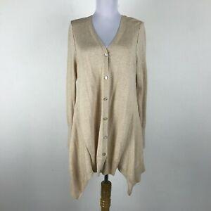 LOGO-Lori-Goldstein-Cardigan-Sweater-Size-S-Beige-V-Neck-Womens-Cotton-Cashmere