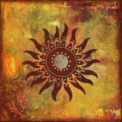 "Mayan tribe Sun Canvas Print Art texture Painting  24/"" x 24/"""