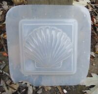 "plastic shell soap plaster candy mold mould 4"" x 4"" x 3/4"" thick"