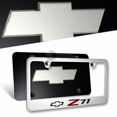 2PC Front /& Back SET CHEVROLET Z71 Stainless Steel License Plate Frame w// Caps
